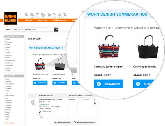 Beispiel: Aktionsartikel im Warenkorb